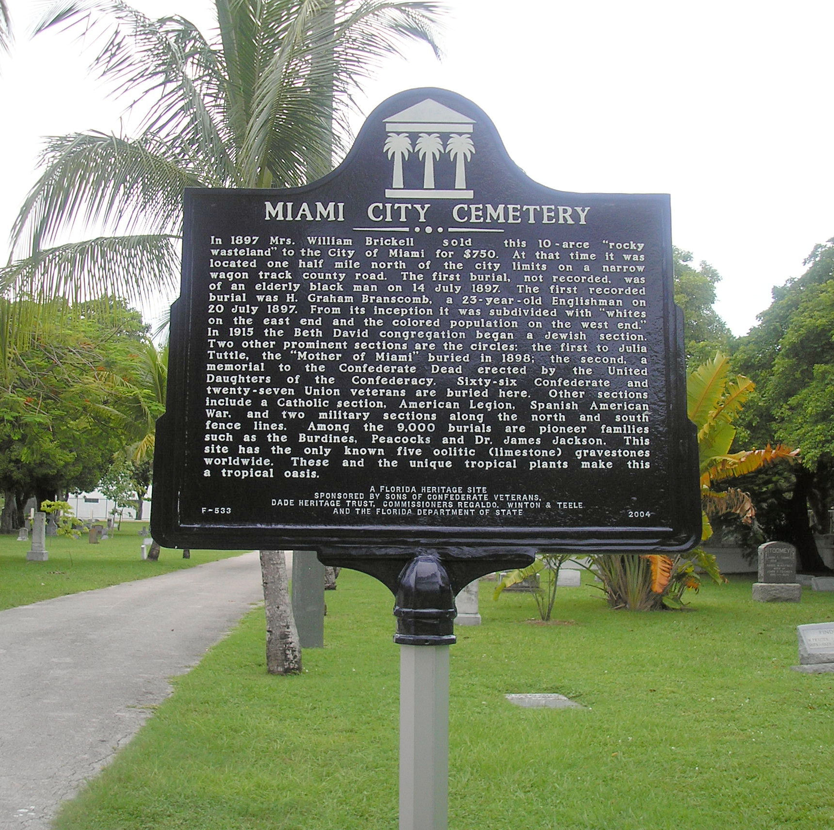 Miami City Cemetery Historic Plaque